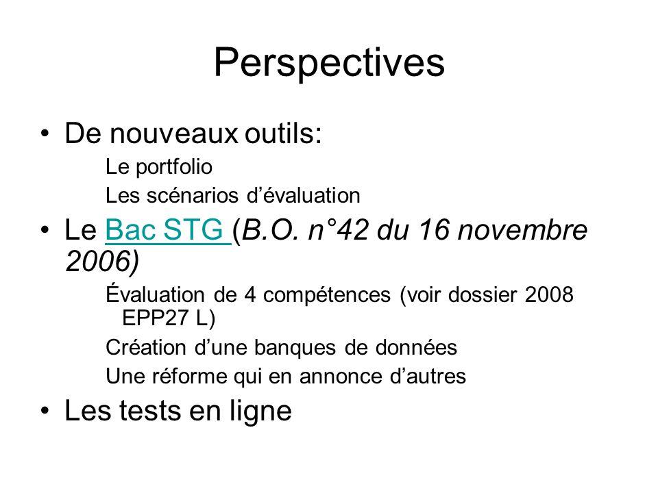 Perspectives De nouveaux outils: Le portfolio Les scénarios dévaluation Le Bac STG (B.O. n°42 du 16 novembre 2006)Bac STG Évaluation de 4 compétences