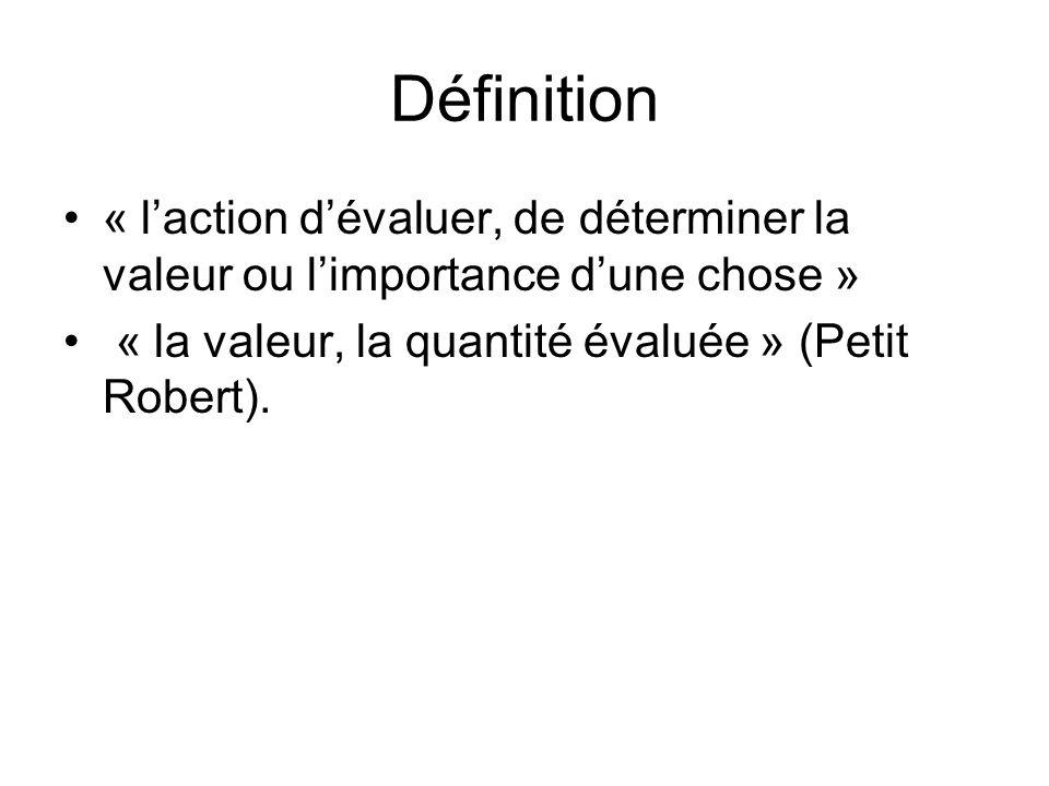 Définition « laction dévaluer, de déterminer la valeur ou limportance dune chose » « la valeur, la quantité évaluée » (Petit Robert).