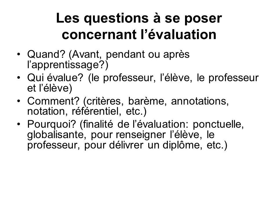 Les questions à se poser concernant lévaluation Quand? (Avant, pendant ou après lapprentissage?) Qui évalue? (le professeur, lélève, le professeur et