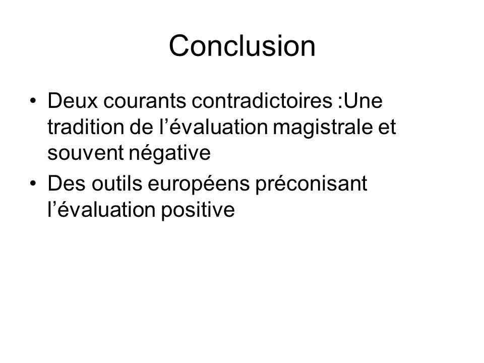 Conclusion Deux courants contradictoires :Une tradition de lévaluation magistrale et souvent négative Des outils européens préconisant lévaluation pos