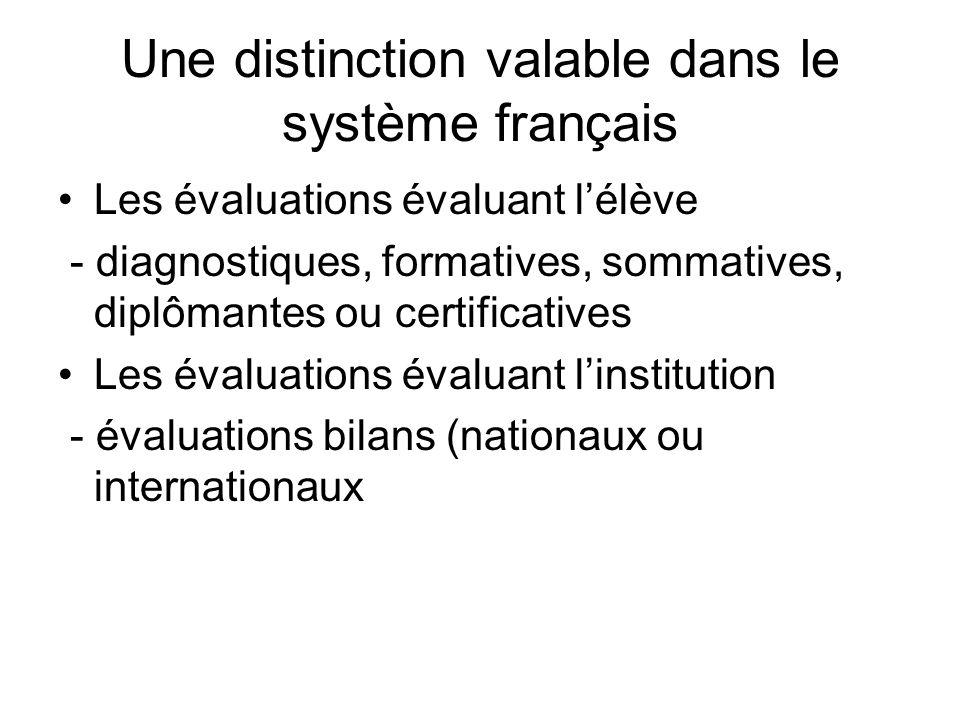 Une distinction valable dans le système français Les évaluations évaluant lélève - diagnostiques, formatives, sommatives, diplômantes ou certificative