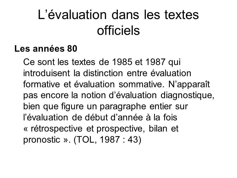 Lévaluation dans les textes officiels Les années 80 Ce sont les textes de 1985 et 1987 qui introduisent la distinction entre évaluation formative et é