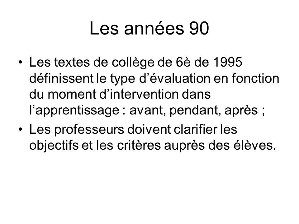 Les années 90 Les textes de collège de 6è de 1995 définissent le type dévaluation en fonction du moment dintervention dans lapprentissage : avant, pen