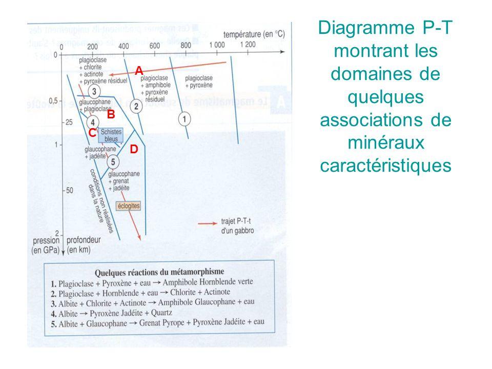 Diagramme P-T montrant les domaines de quelques associations de minéraux caractéristiques B C D A