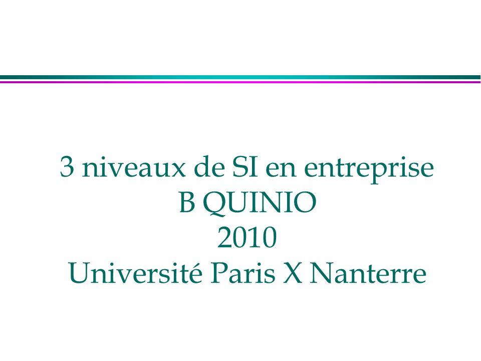 3 niveaux de SI en entreprise B QUINIO 2010 Université Paris X Nanterre