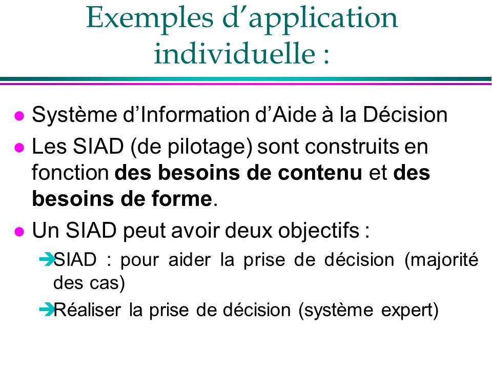 Exemples dapplication individuelle : l Système dInformation dAide à la Décision l Les SIAD (de pilotage) sont construits en fonction des besoins de contenu et des besoins de forme.