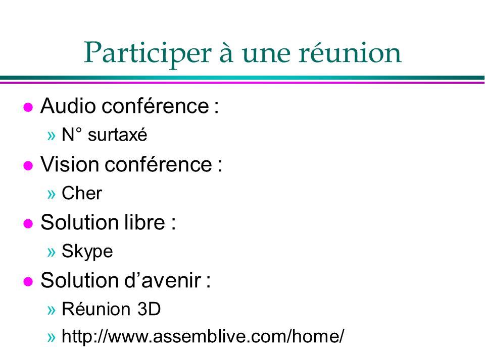Participer à une réunion l Audio conférence : »N° surtaxé l Vision conférence : »Cher l Solution libre : »Skype l Solution davenir : »Réunion 3D »http://www.assemblive.com/home/