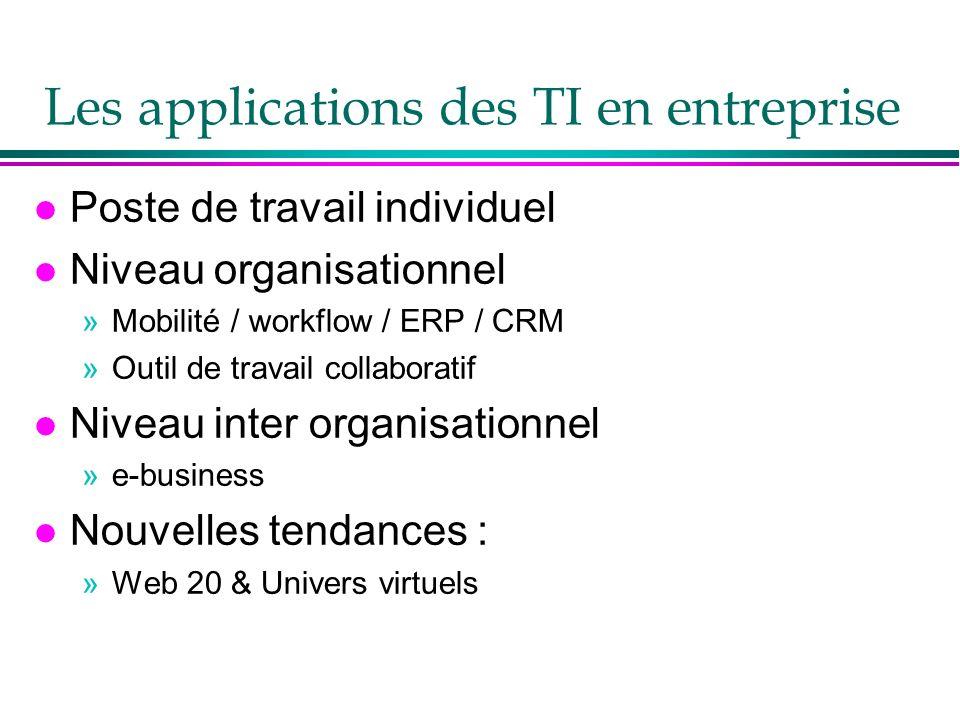 Les applications des TI en entreprise l Poste de travail individuel l Niveau organisationnel »Mobilité / workflow / ERP / CRM »Outil de travail collaboratif l Niveau inter organisationnel »e-business l Nouvelles tendances : »Web 20 & Univers virtuels