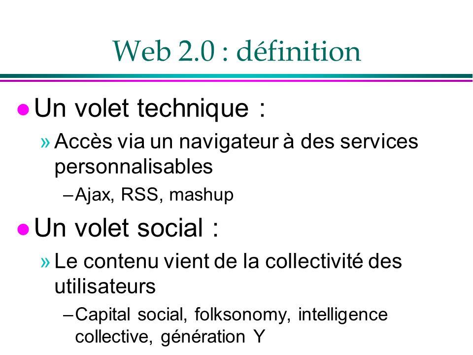 Web 2.0 : définition l Un volet technique : »Accès via un navigateur à des services personnalisables –Ajax, RSS, mashup l Un volet social : »Le contenu vient de la collectivité des utilisateurs –Capital social, folksonomy, intelligence collective, génération Y