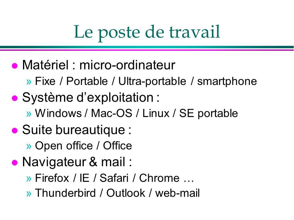 Le poste de travail l Matériel : micro-ordinateur »Fixe / Portable / Ultra-portable / smartphone l Système dexploitation : »Windows / Mac-OS / Linux / SE portable l Suite bureautique : »Open office / Office l Navigateur & mail : »Firefox / IE / Safari / Chrome … »Thunderbird / Outlook / web-mail
