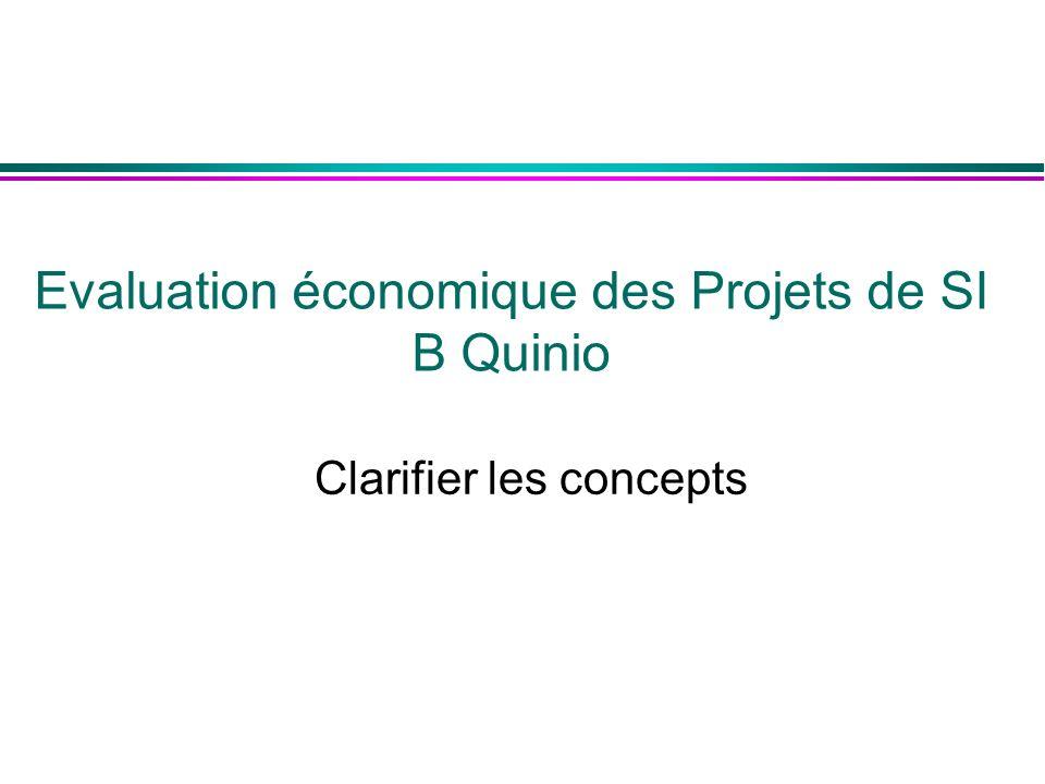 Clarifier les concepts Evaluation économique des Projets de SI B Quinio