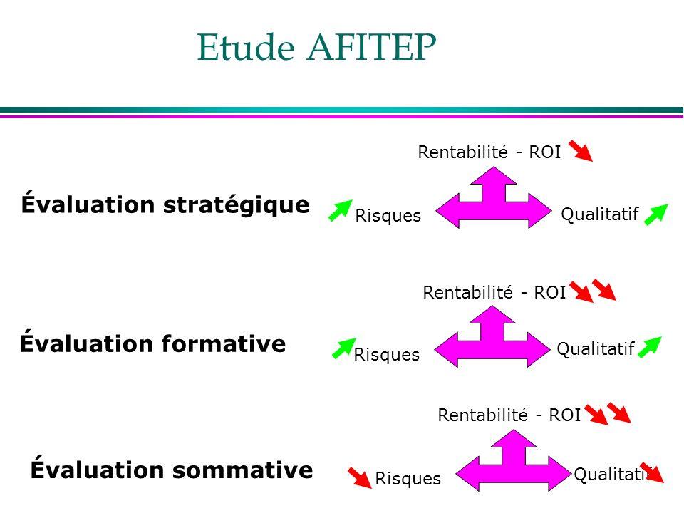 Etude AFITEP Rentabilité - ROI Qualitatif Risques Évaluation stratégique Rentabilité - ROI Qualitatif Risques Évaluation formative Rentabilité - ROI Q
