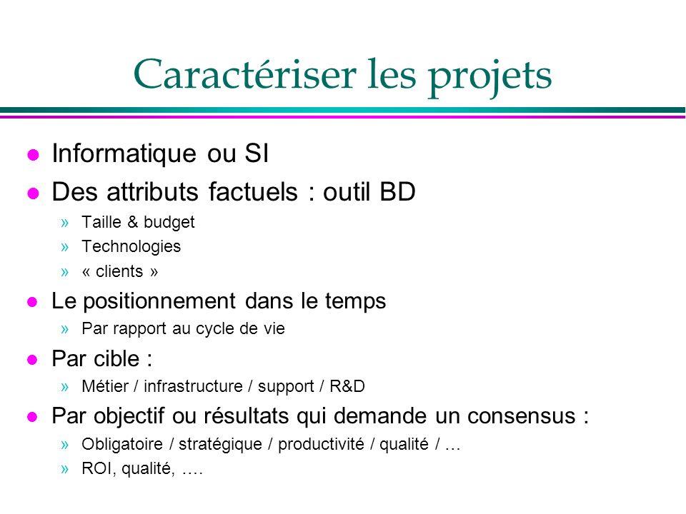 Caractériser les projets l Informatique ou SI l Des attributs factuels : outil BD »Taille & budget »Technologies »« clients » l Le positionnement dans