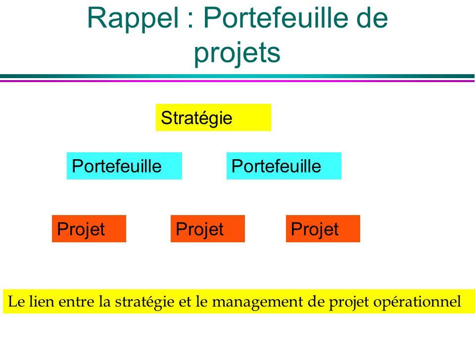 Rappel : Portefeuille de projets Stratégie Portefeuille Projet Le lien entre la stratégie et le management de projet opérationnel