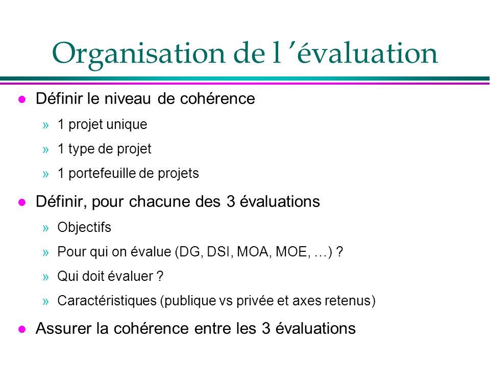 Organisation de l évaluation l Définir le niveau de cohérence »1 projet unique »1 type de projet »1 portefeuille de projets l Définir, pour chacune de