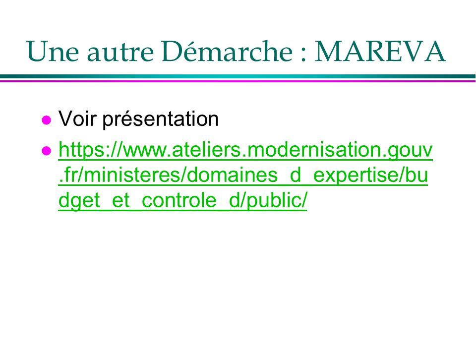 Une autre Démarche : MAREVA l Voir présentation l https://www.ateliers.modernisation.gouv.fr/ministeres/domaines_d_expertise/bu dget_et_controle_d/pub