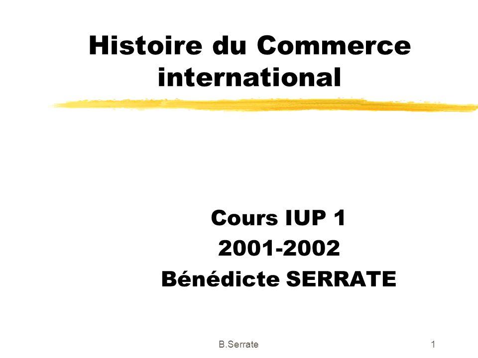 -1-2- Le cadre institutionnel des échanges zLa reconstruction d un SMI: Les accords de Bretton Woods zLes accords du GATT zCréation de la CNUCED 72B.Serrate