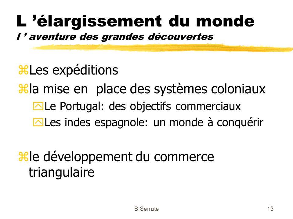 L élargissement du monde l aventure des grandes découvertes zLes expéditions zla mise en place des systèmes coloniaux yLe Portugal: des objectifs comm