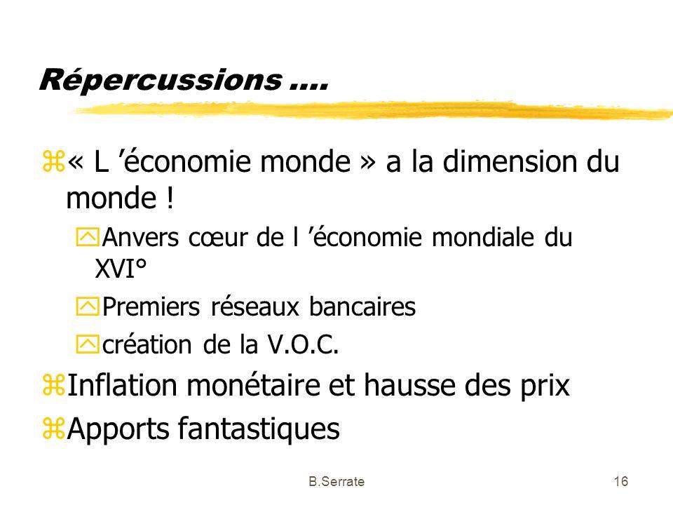 Répercussions …. z« L économie monde » a la dimension du monde ! yAnvers cœur de l économie mondiale du XVI° yPremiers réseaux bancaires ycréation de