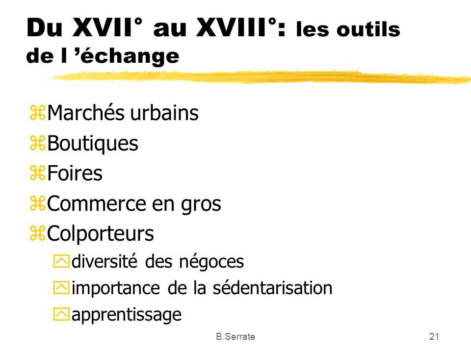 Du XVII° au XVIII°: les outils de l échange zMarchés urbains zBoutiques zFoires zCommerce en gros zColporteurs ydiversité des négoces yimportance de l