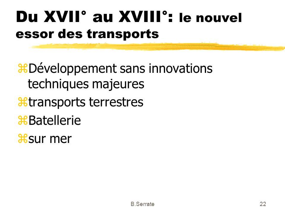 Du XVII° au XVIII°: le nouvel essor des transports zDéveloppement sans innovations techniques majeures ztransports terrestres zBatellerie zsur mer 22B