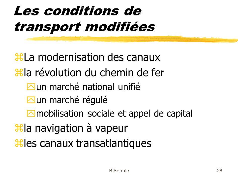 Les conditions de transport modifiées zLa modernisation des canaux zla révolution du chemin de fer yun marché national unifié yun marché régulé ymobil