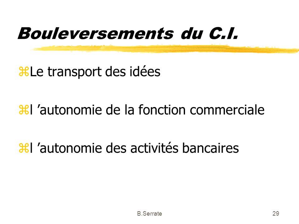 Bouleversements du C.I. zLe transport des idées zl autonomie de la fonction commerciale zl autonomie des activités bancaires 29B.Serrate