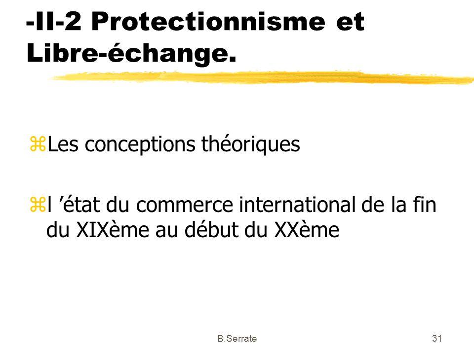 -II-2 Protectionnisme et Libre-échange. zLes conceptions théoriques zl état du commerce international de la fin du XIXème au début du XXème 31B.Serrat