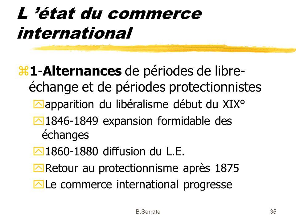 L état du commerce international z1-Alternances de périodes de libre- échange et de périodes protectionnistes yapparition du libéralisme début du XIX°