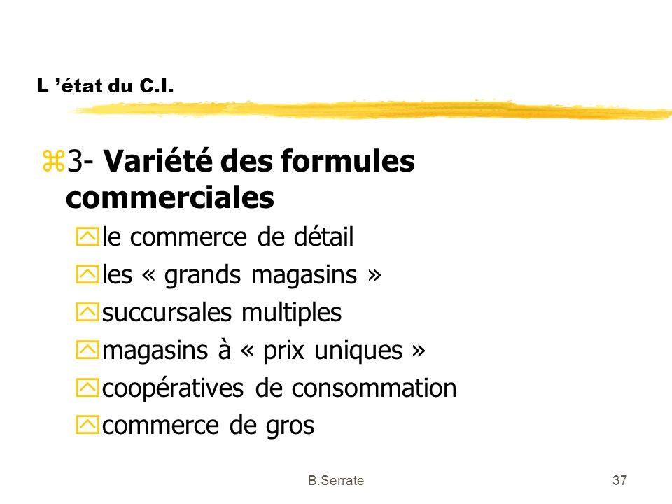 L état du C.I. z3- Variété des formules commerciales yle commerce de détail yles « grands magasins » ysuccursales multiples ymagasins à « prix uniques