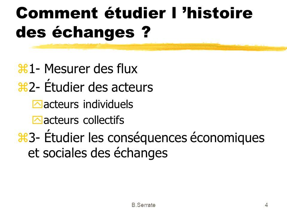 Comment étudier l histoire des échanges ? z1- Mesurer des flux z2- Étudier des acteurs yacteurs individuels yacteurs collectifs z3- Étudier les conséq