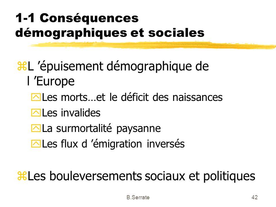1-1 Conséquences démographiques et sociales zL épuisement démographique de l Europe yLes morts…et le déficit des naissances yLes invalides yLa surmort
