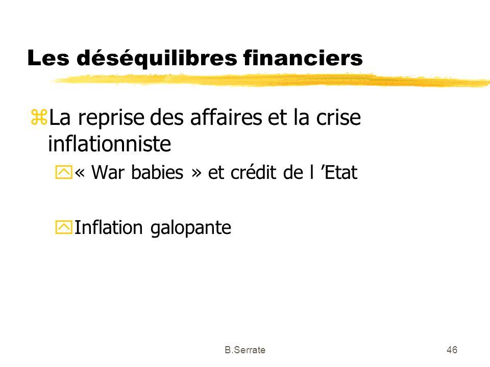 Les déséquilibres financiers zLa reprise des affaires et la crise inflationniste y« War babies » et crédit de l Etat yInflation galopante 46B.Serrate