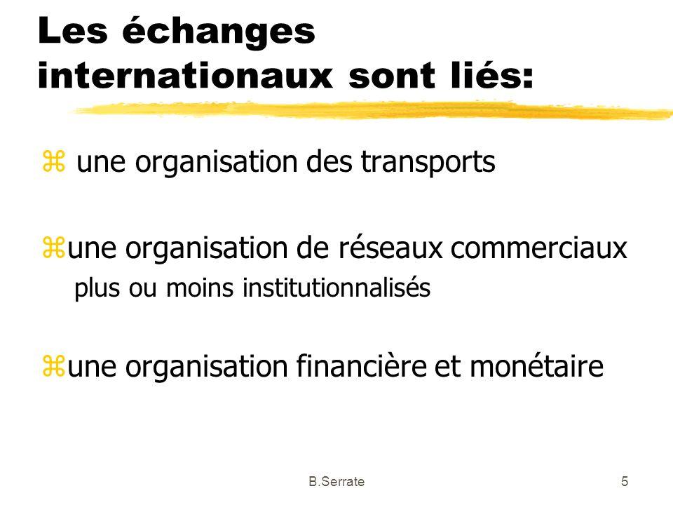 Les échanges internationaux sont liés: z une organisation des transports zune organisation de réseaux commerciaux plus ou moins institutionnalisés zun