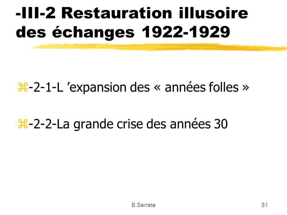 -III-2 Restauration illusoire des échanges 1922-1929 z-2-1-L expansion des « années folles » z-2-2-La grande crise des années 30 51B.Serrate