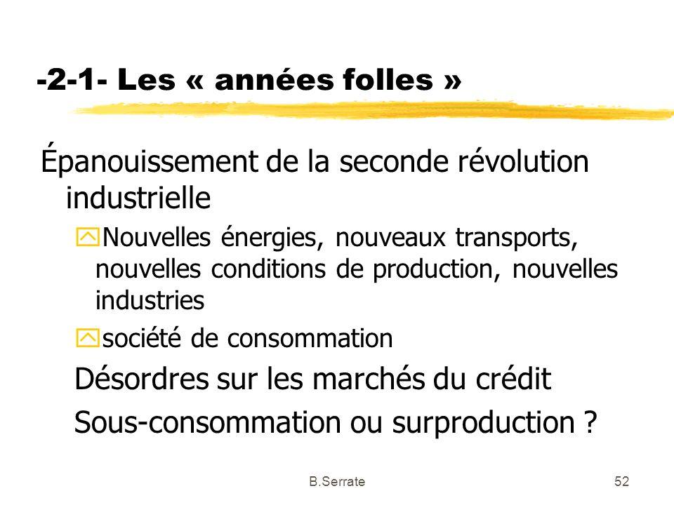-2-1- Les « années folles » Épanouissement de la seconde révolution industrielle yNouvelles énergies, nouveaux transports, nouvelles conditions de pro