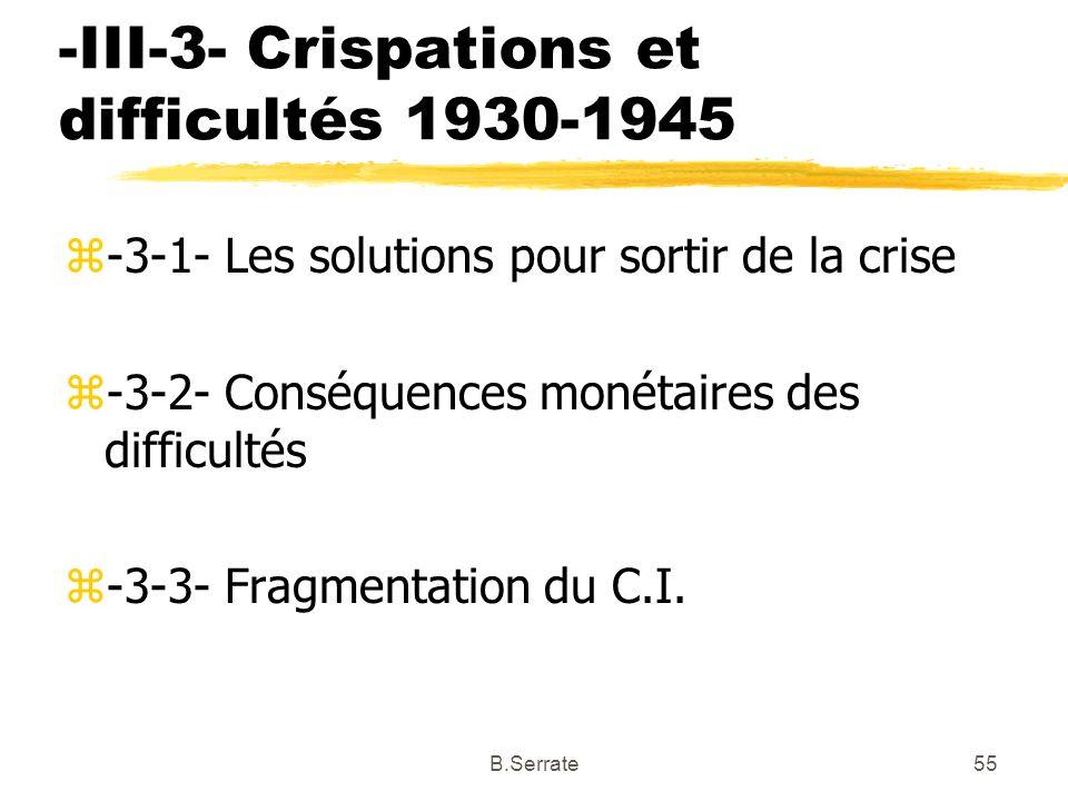 -III-3- Crispations et difficultés 1930-1945 z-3-1- Les solutions pour sortir de la crise z-3-2- Conséquences monétaires des difficultés z-3-3- Fragme