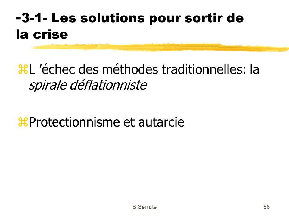 - 3-1- Les solutions pour sortir de la crise zL échec des méthodes traditionnelles: la spirale déflationniste zProtectionnisme et autarcie 56B.Serrate