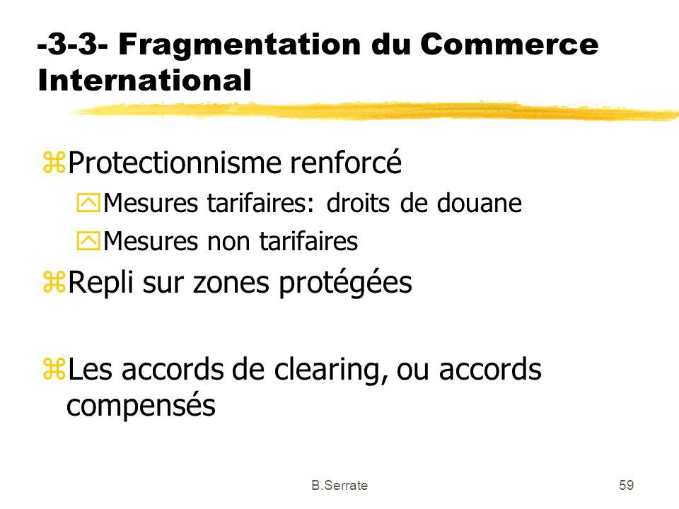 -3-3- Fragmentation du Commerce International zProtectionnisme renforcé yMesures tarifaires: droits de douane yMesures non tarifaires zRepli sur zones