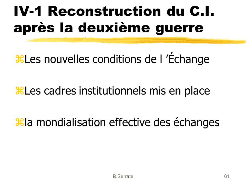 IV-1 Reconstruction du C.I. après la deuxième guerre zLes nouvelles conditions de l Échange zLes cadres institutionnels mis en place zla mondialisatio