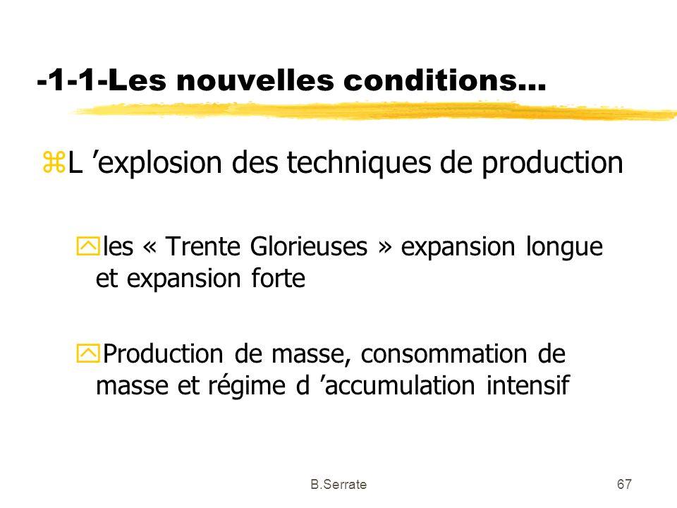 -1-1-Les nouvelles conditions... zL explosion des techniques de production yles « Trente Glorieuses » expansion longue et expansion forte yProduction