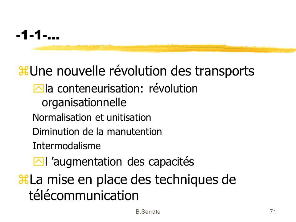 -1-1-... zUne nouvelle révolution des transports yla conteneurisation: révolution organisationnelle Normalisation et unitisation Diminution de la manu