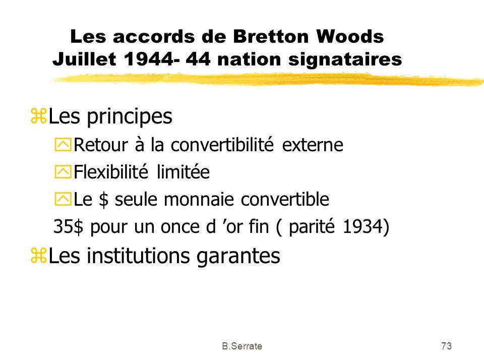 Les accords de Bretton Woods Juillet 1944- 44 nation signataires zLes principes yRetour à la convertibilité externe yFlexibilité limitée yLe $ seule m