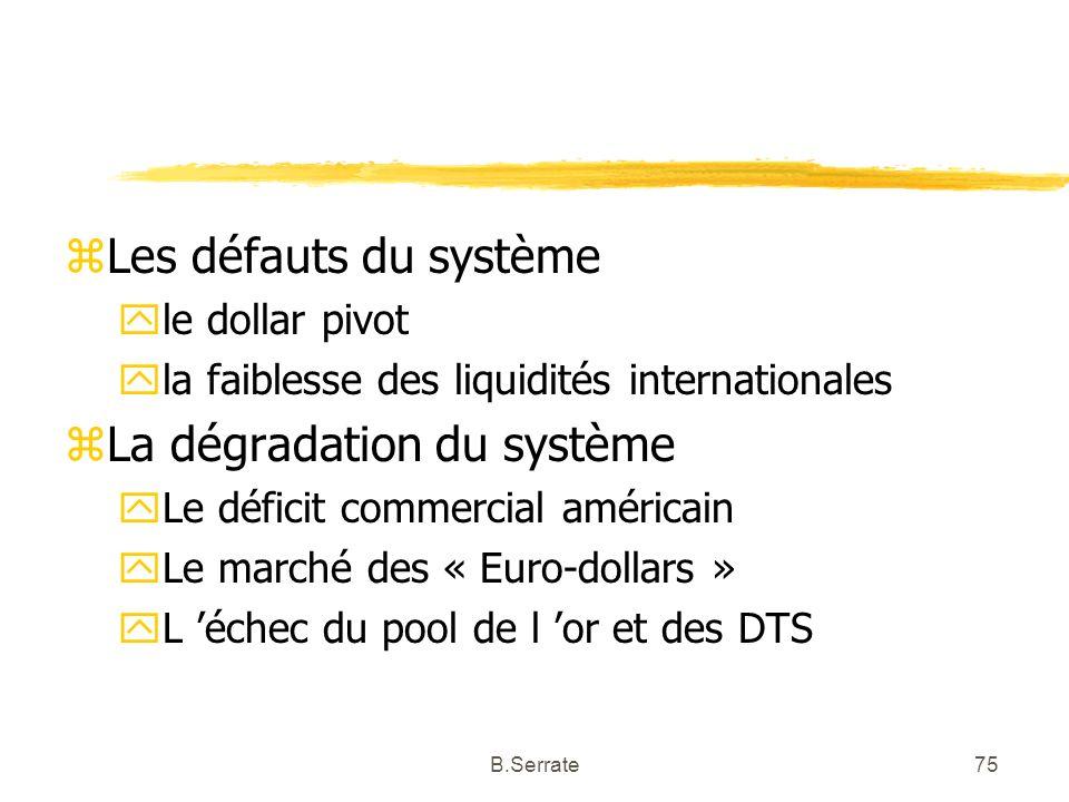 zLes défauts du système yle dollar pivot yla faiblesse des liquidités internationales zLa dégradation du système yLe déficit commercial américain yLe