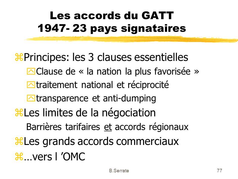 Les accords du GATT 1947- 23 pays signataires zPrincipes: les 3 clauses essentielles yClause de « la nation la plus favorisée » ytraitement national e