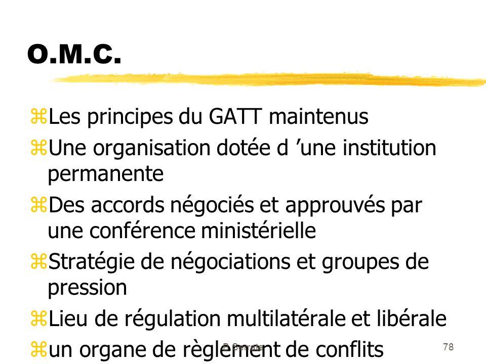 O.M.C. zLes principes du GATT maintenus zUne organisation dotée d une institution permanente zDes accords négociés et approuvés par une conférence min
