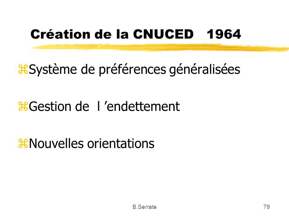 Création de la CNUCED 1964 zSystème de préférences généralisées zGestion de l endettement zNouvelles orientations 79B.Serrate