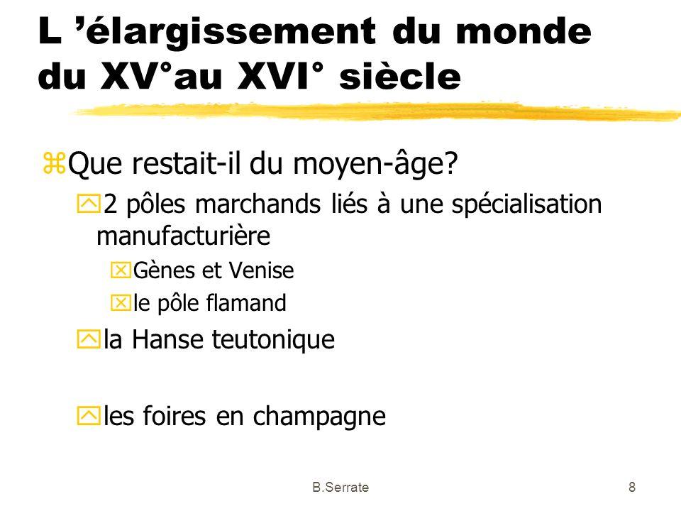 L élargissement du monde du XV°au XVI° siècle zQue restait-il du moyen-âge? y2 pôles marchands liés à une spécialisation manufacturière xGènes et Veni