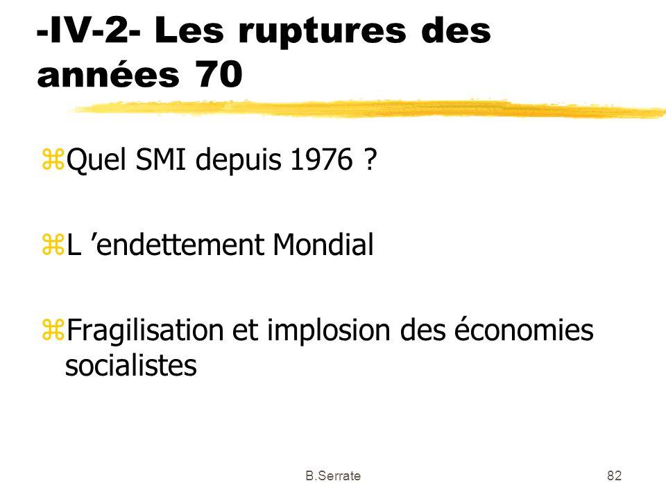 -IV-2- Les ruptures des années 70 zQuel SMI depuis 1976 ? zL endettement Mondial zFragilisation et implosion des économies socialistes 82B.Serrate