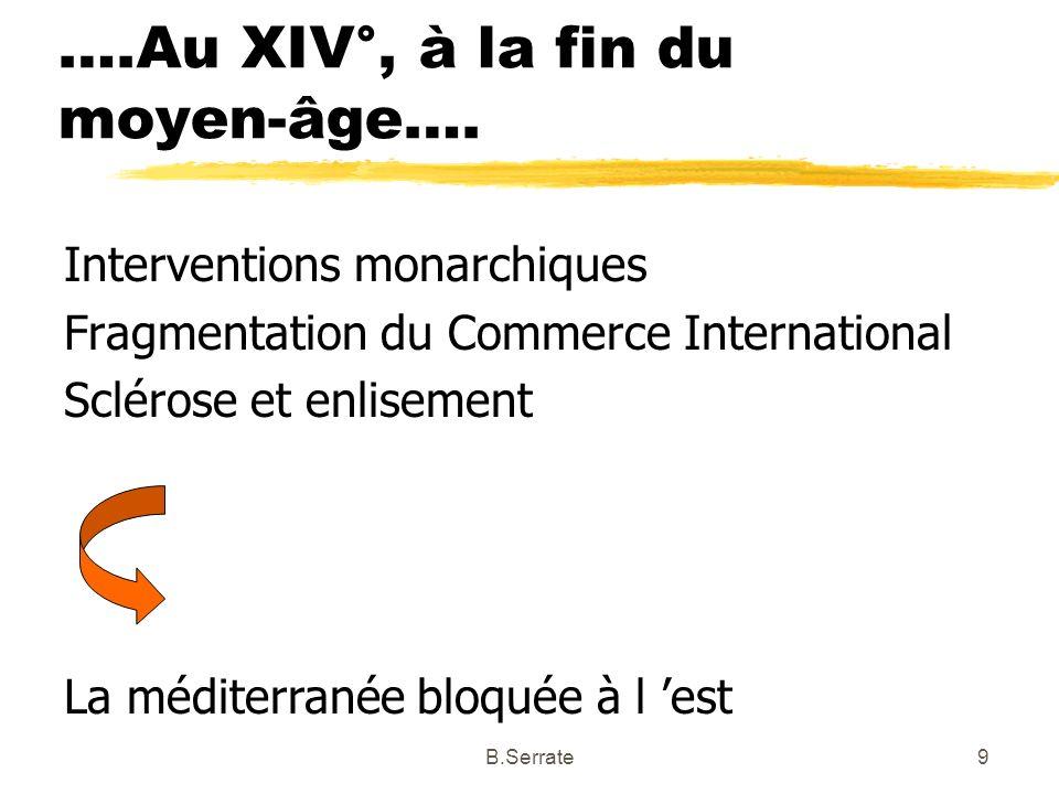 ….Au XIV°, à la fin du moyen-âge…. Interventions monarchiques Fragmentation du Commerce International Sclérose et enlisement La méditerranée bloquée à